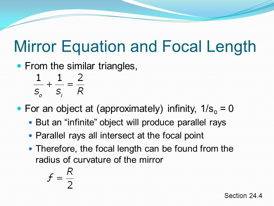 Chapter 24 geometrical optics ppt video online download for Mirror formula