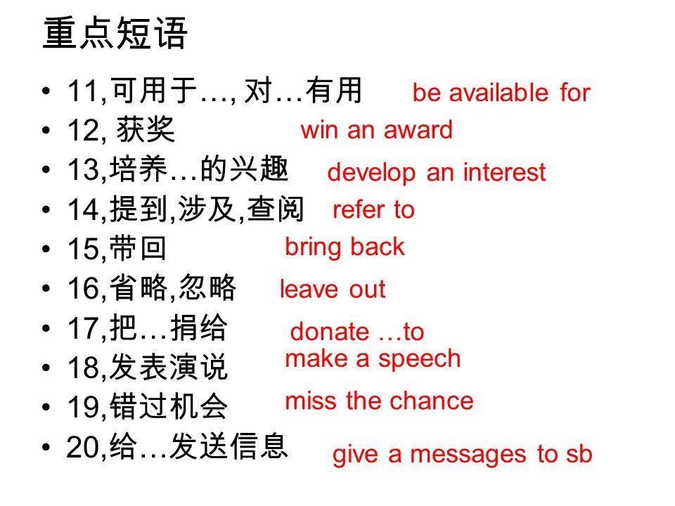 重点短语 11,可用于…, 对…有用 12, 获奖 13,培养…的兴趣 14,提到,涉及,查阅 15,带回 16,省略,忽略 17,把…捐给