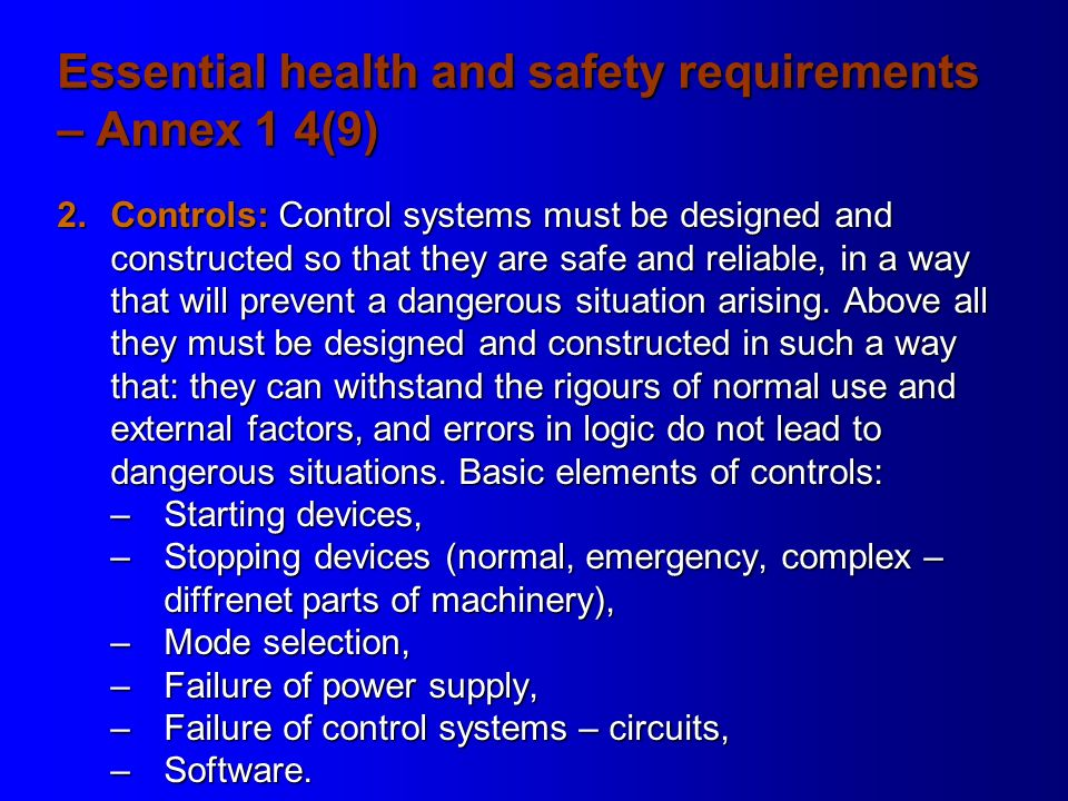 essential health and safety requirements pdf