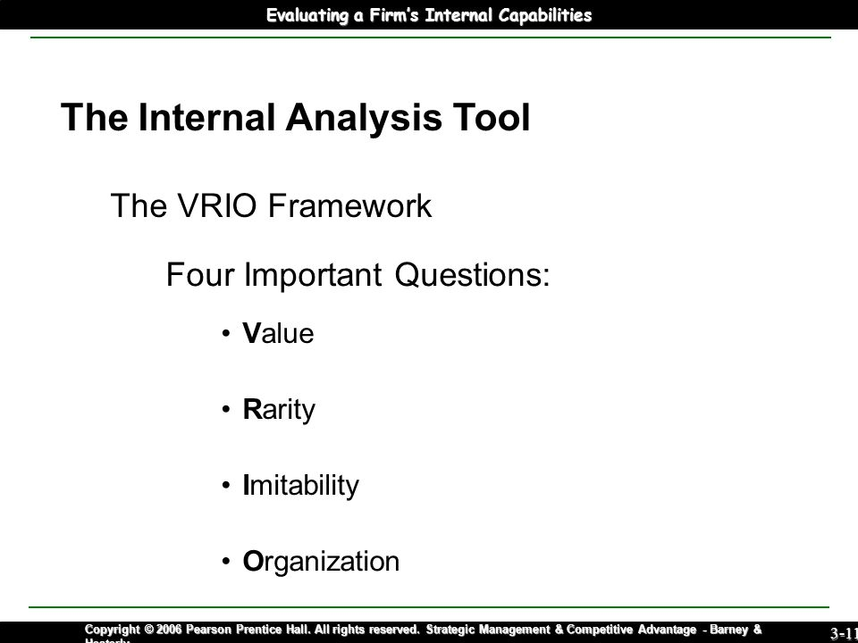 internal analysis vrio Purpose: the paper addresses the limited development of techniques to analyze firms' internal sources of competitive performance it seeks to enhance the contribution of the widely diffused vrio (value-rarity-imitability-organization) model to practical strategy making design/methodology/approach: the paper d raws on.