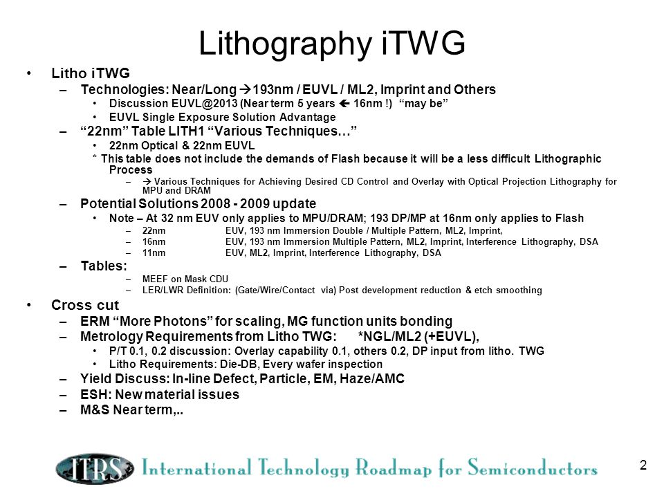 Lithography iTWG Litho iTWG Cross cut