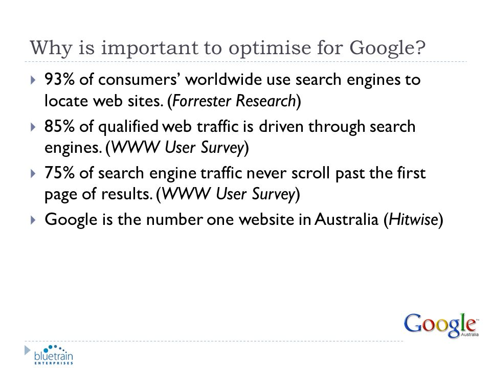 Why is important to optimise for Google