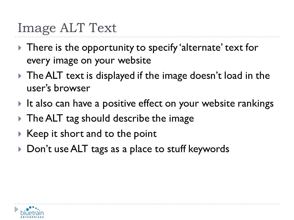 Image ALT Text There is the opportunity to specify 'alternate' text for every image on your website.