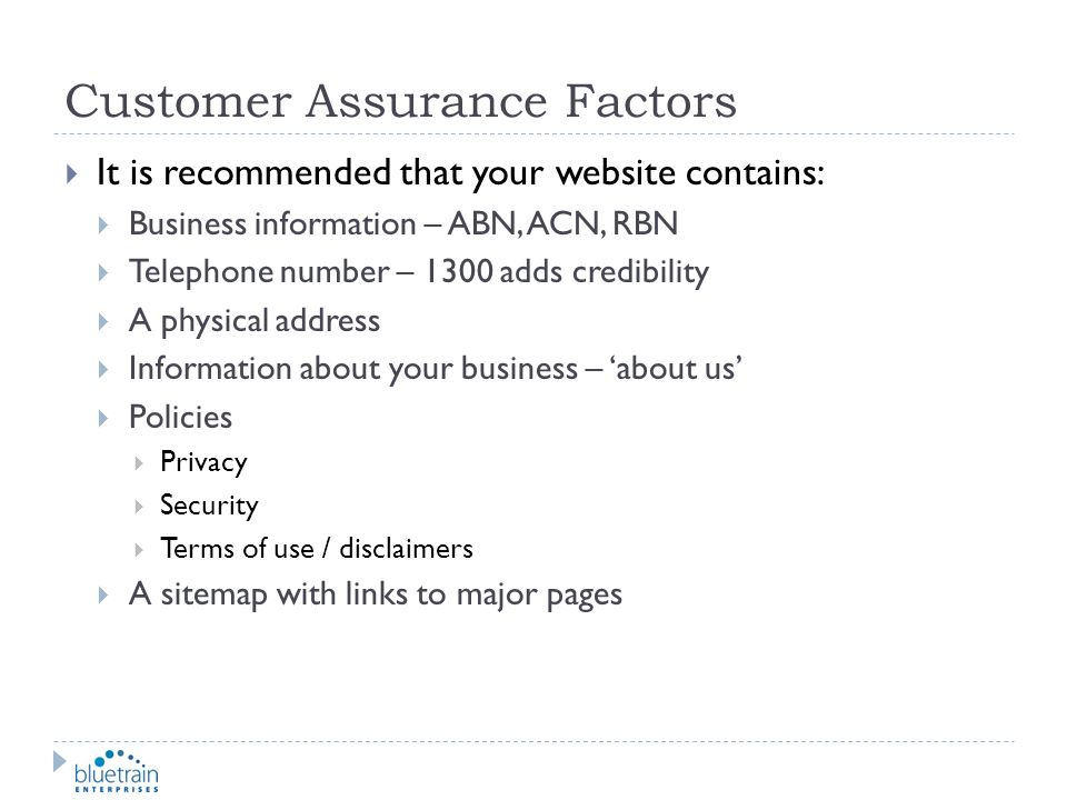 Customer Assurance Factors