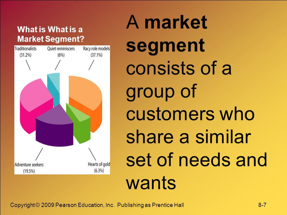 a market segment consists of a group of customers who share a similar set of needs and wants These tourists want to experience something new and expect high quality service   there will be greater market specialisation and segmentation with a stronger   individual needs like health, education, business and physical factors as a  result  promoting a set of experiences that relate to south african consumers.