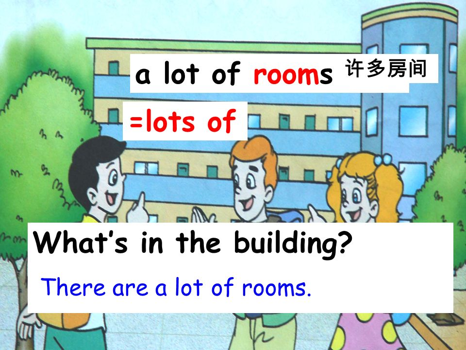 a lot of rooms =lots of What's in the building