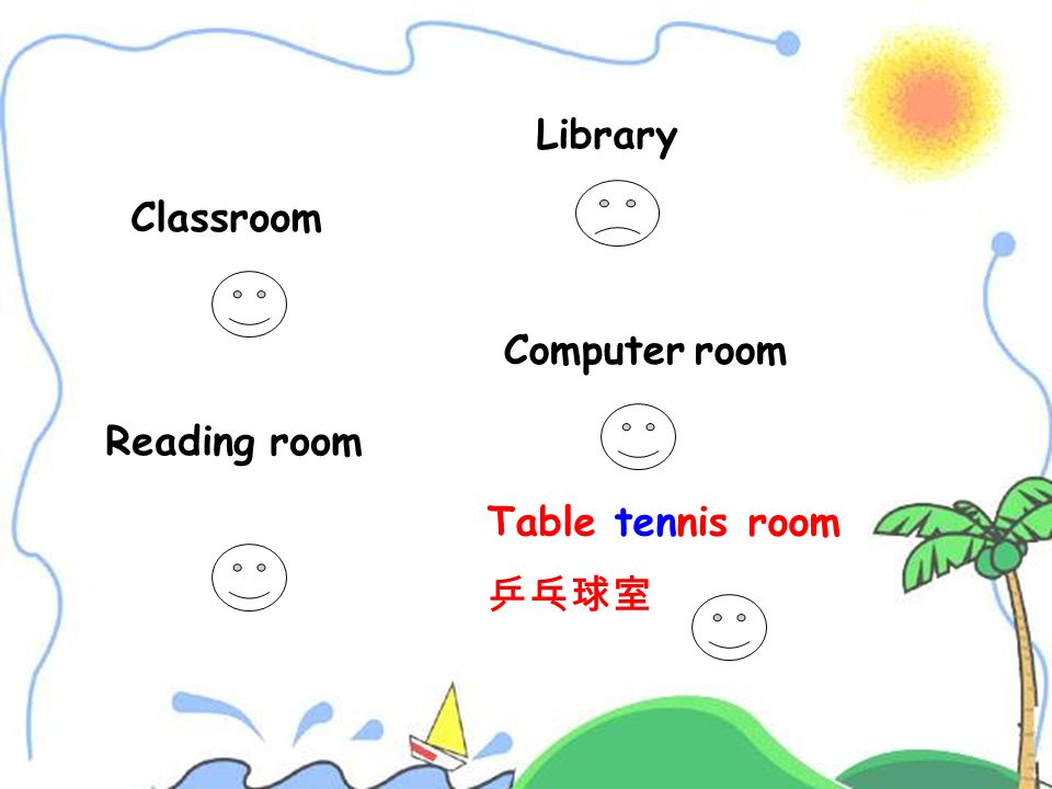 Library Classroom Table tennis room 乒乓球室 Computer room Reading room
