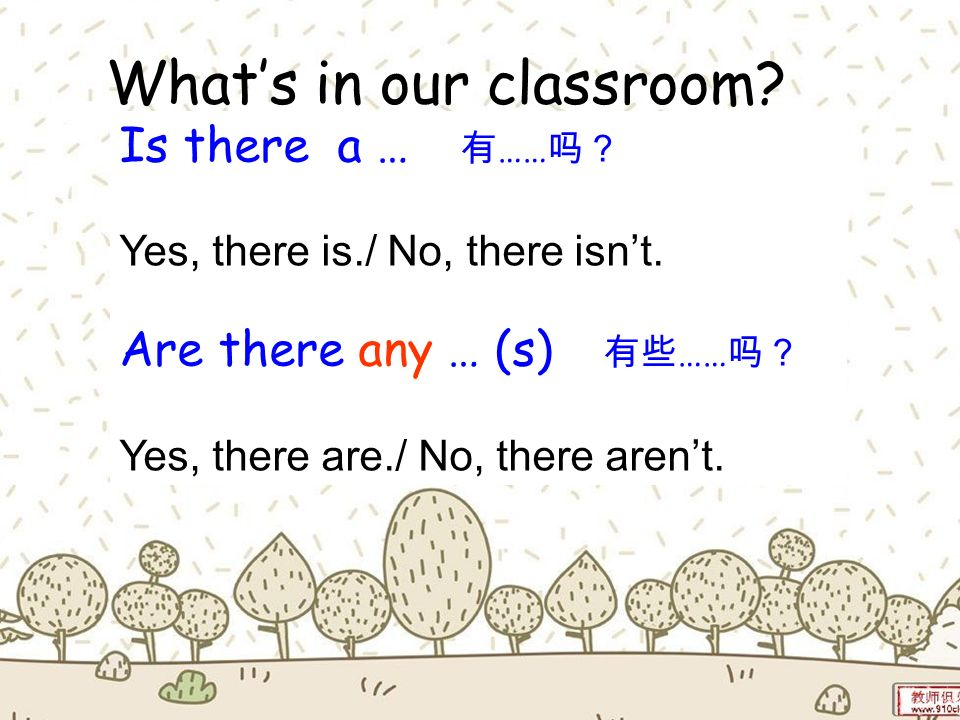 What's in our classroom There is a … There are some … (s)
