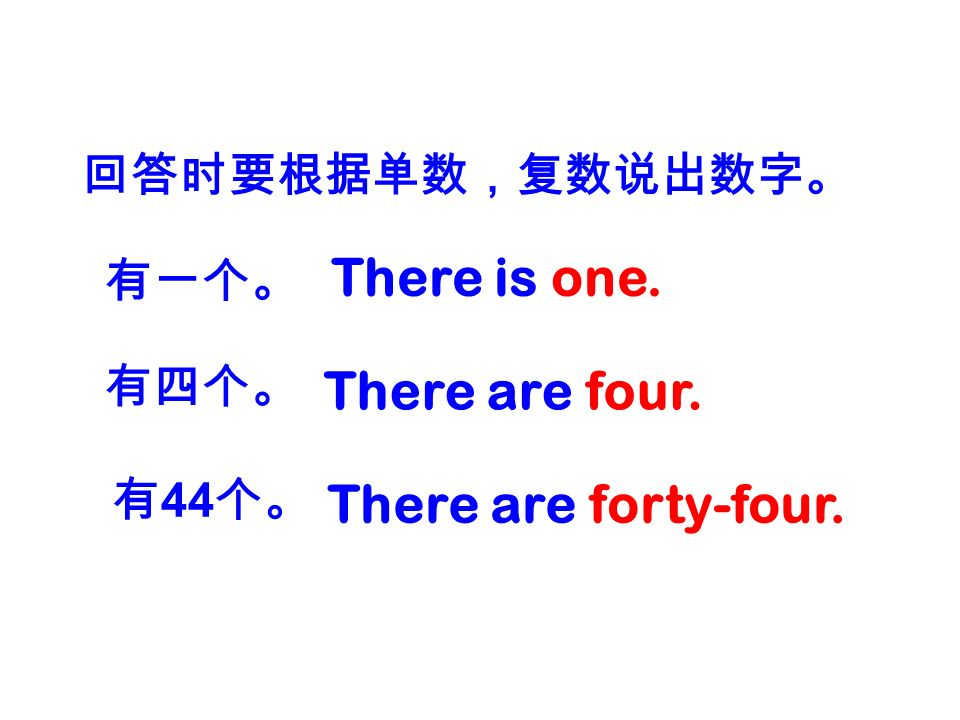There is one. There are four. There are forty-four. 回答时要根据单数,复数说出数字。