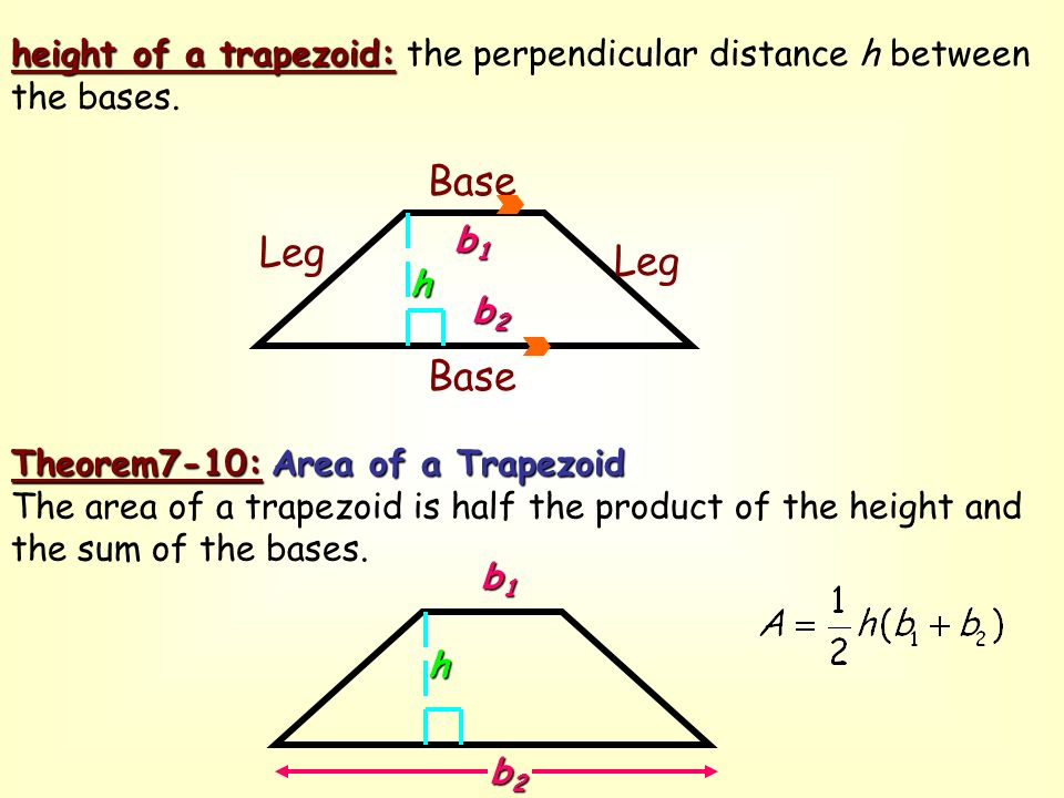 Objective to find the area of a trapezoid ppt download height of a trapezoid the perpendicular distance h between the bases ccuart Choice Image