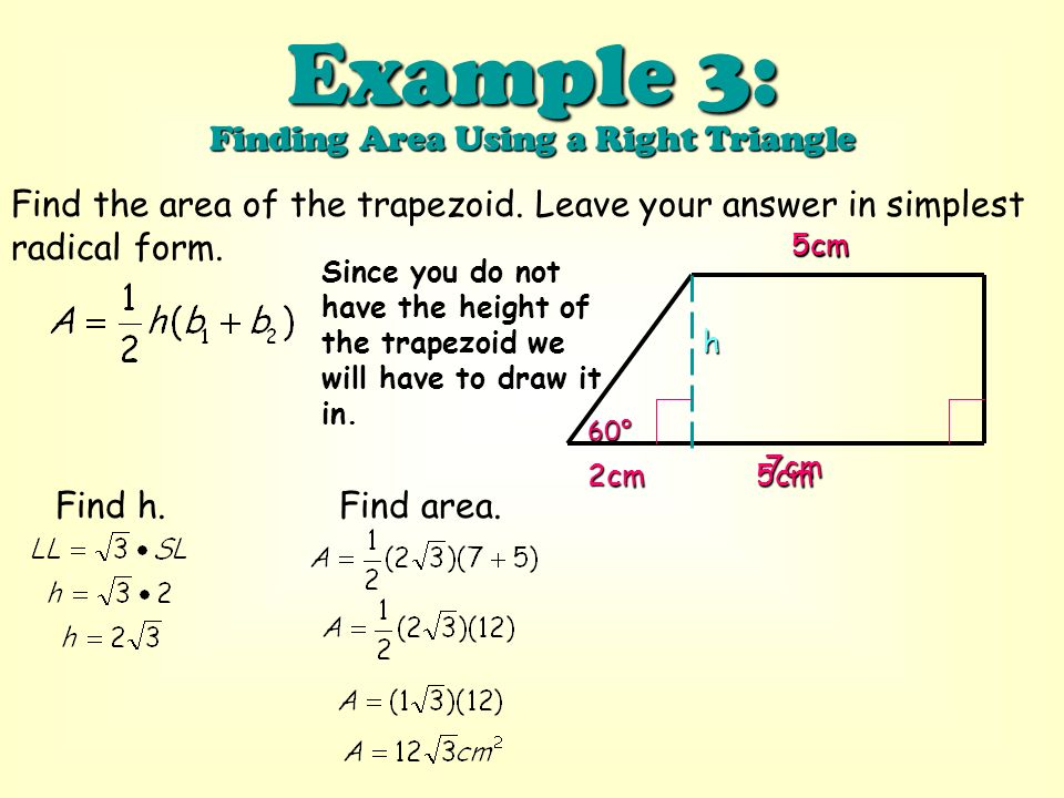 Objective to find the area of a trapezoid ppt download example 3 finding area using a right triangle ccuart Choice Image