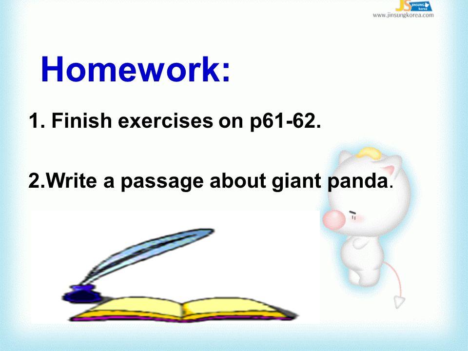 Homework: 1. Finish exercises on p61-62.