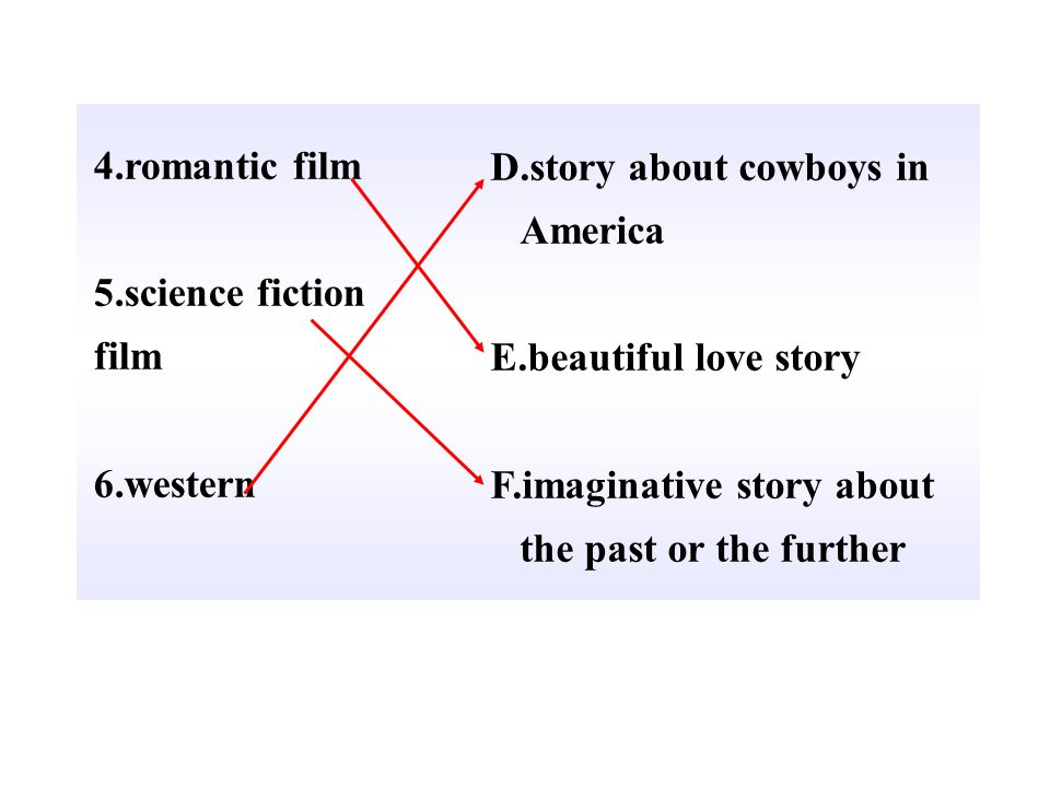 4.romantic film5.science fiction. film. 6.western. D.story about cowboys in America. E.beautiful love story.