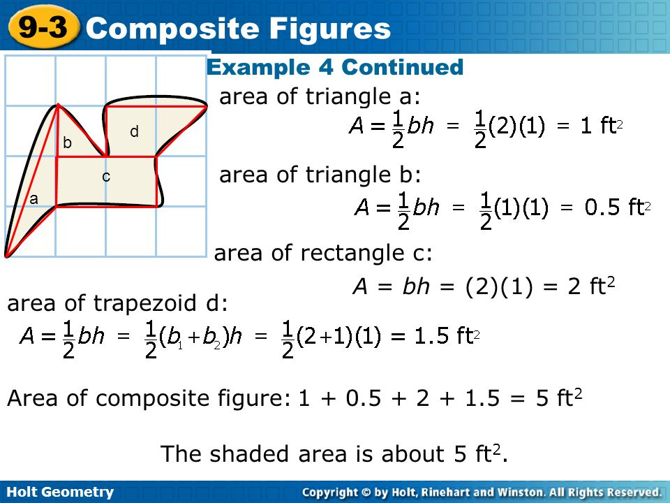 Area of composite figure: = 5 ft2