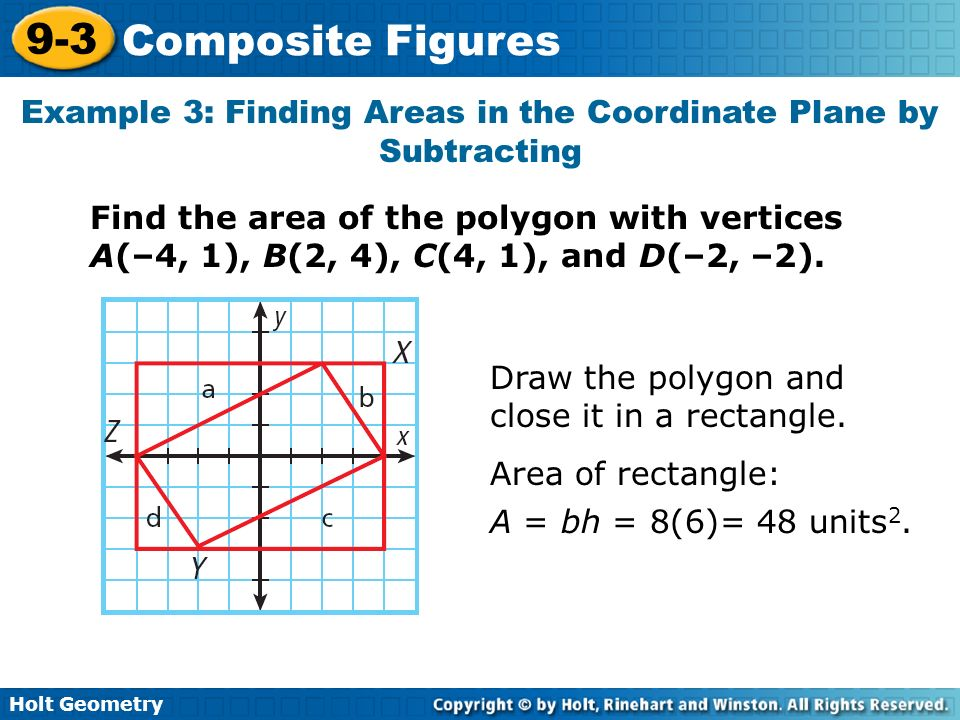 Example 3: Finding Areas in the Coordinate Plane by Subtracting