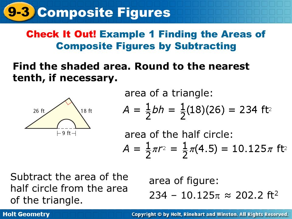 Check It Out! Example 1 Finding the Areas of Composite Figures by Subtracting
