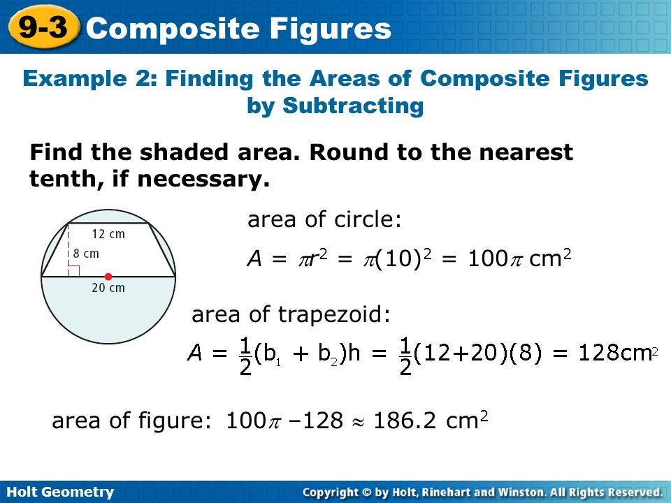 Example 2: Finding the Areas of Composite Figures by Subtracting