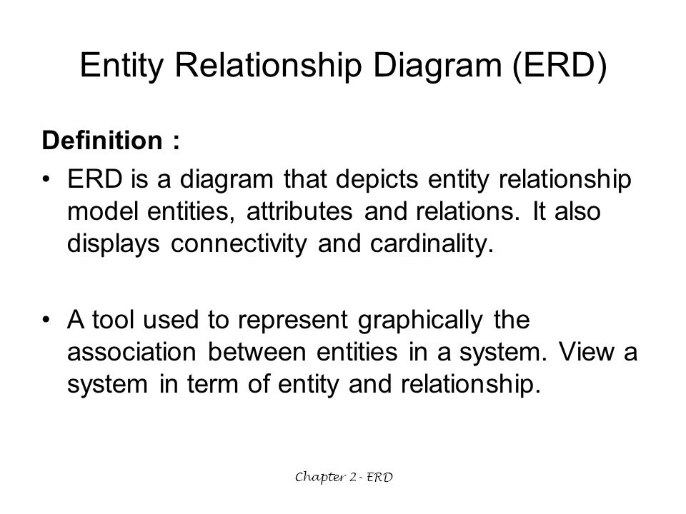 entity relationship diagram and attributes