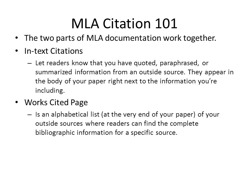 MLA Citation 101 The two parts of MLA documentation work together