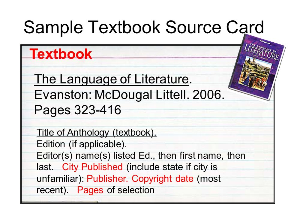 Sample Textbook Source Card