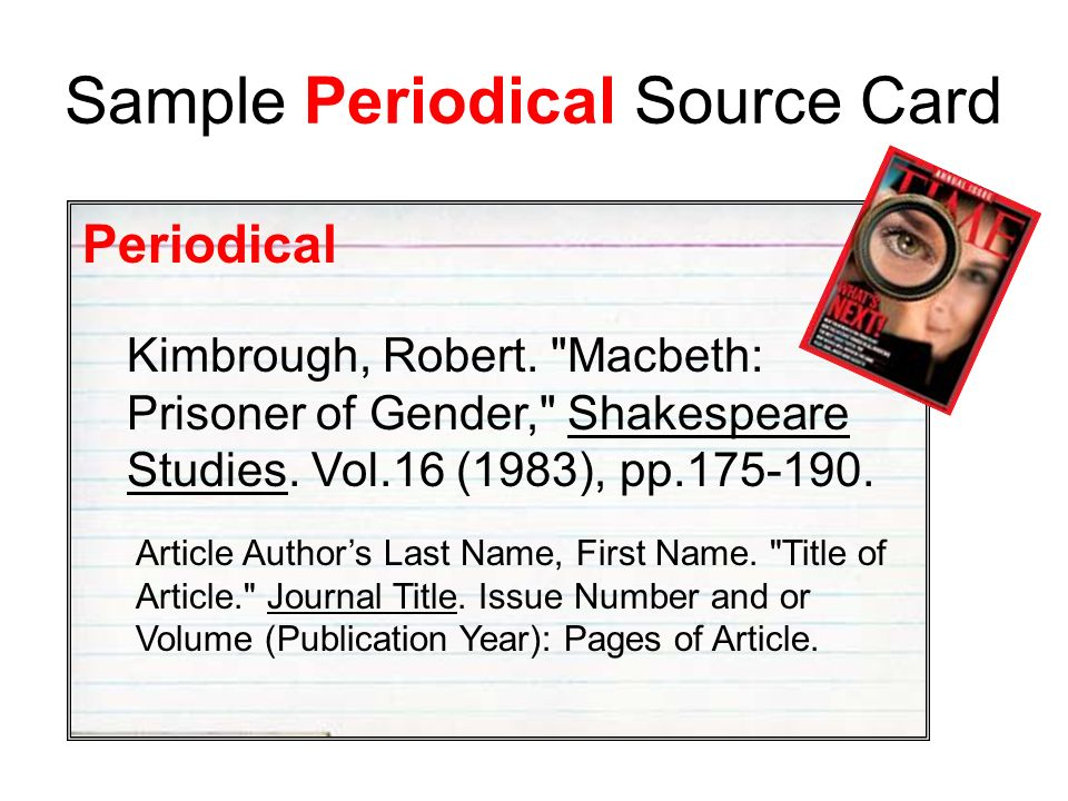 Sample Periodical Source Card