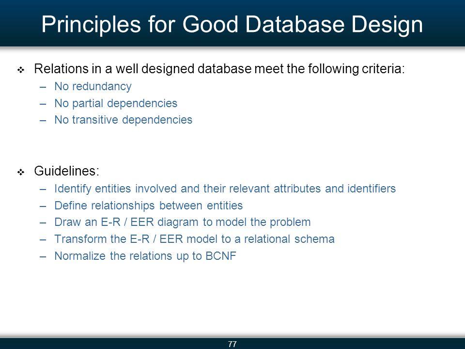 principles for good database design - Database Design Guidelines