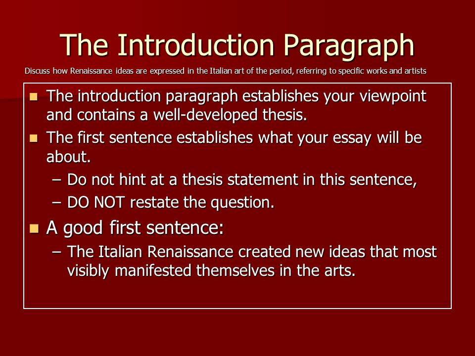 Renaissance essay introduction