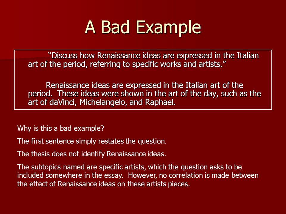 italian renassaince essay questions