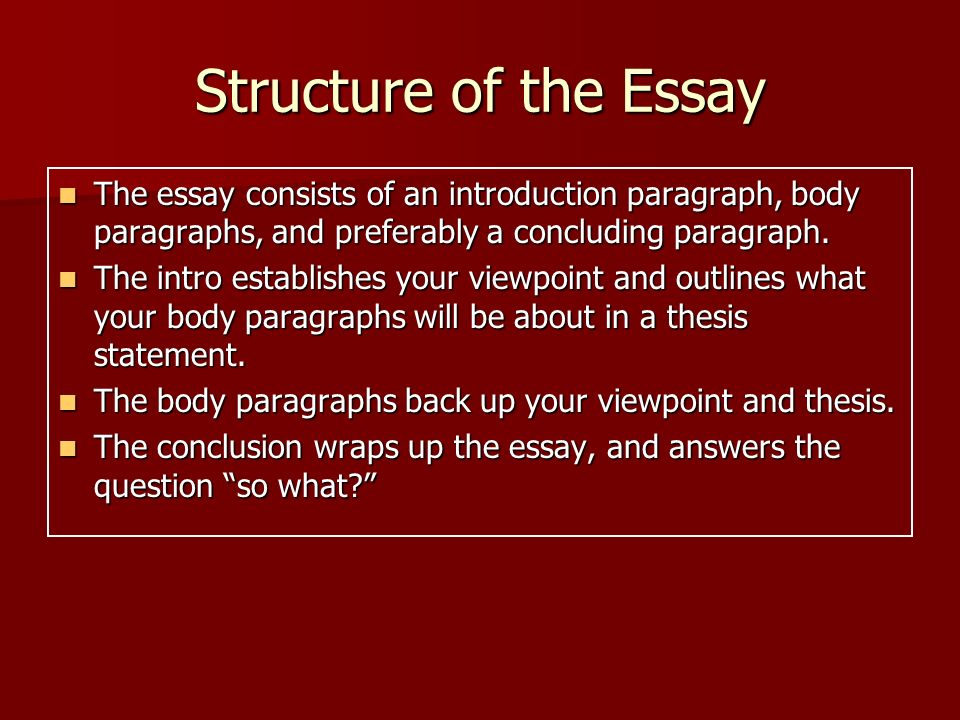 history essay body paragraph structure Outline structure for literary analysis essay i catchy title ii paragraph 1: introduction (use hatmat)  each body paragraph should focus on one main idea that .