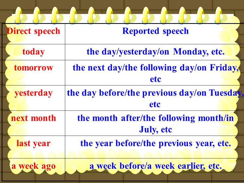 the day/yesterday/on Monday, etc. tomorrow