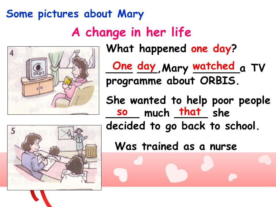 A change in her life Some pictures about Mary What happened one day