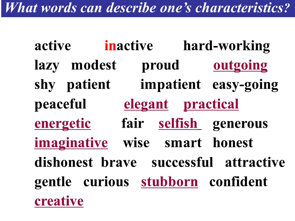What words can describe one's characteristics