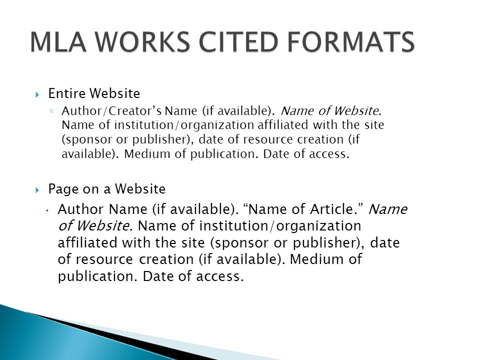 works cited mla format website Citing a website in mla format  then include a works cited page at the end of  your essay.