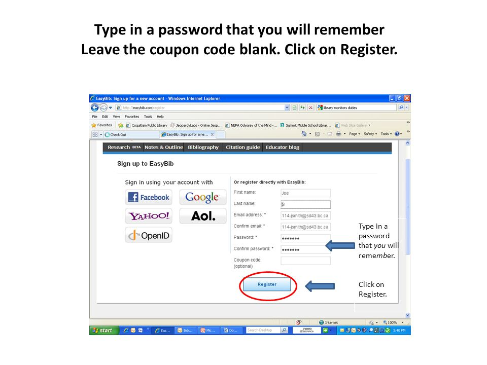 Sign up for an easybib account ppt download type in a password that you will remember leave the coupon code blank fandeluxe Images