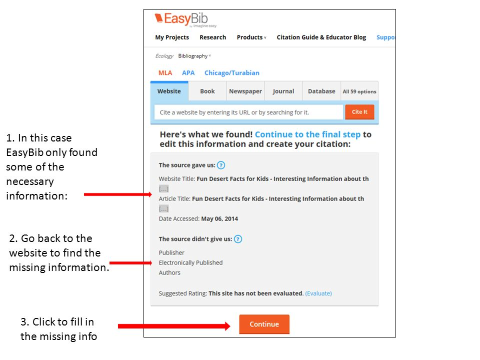 sign up for an easybib account ppt  in this case easybib only found some of the necessary information