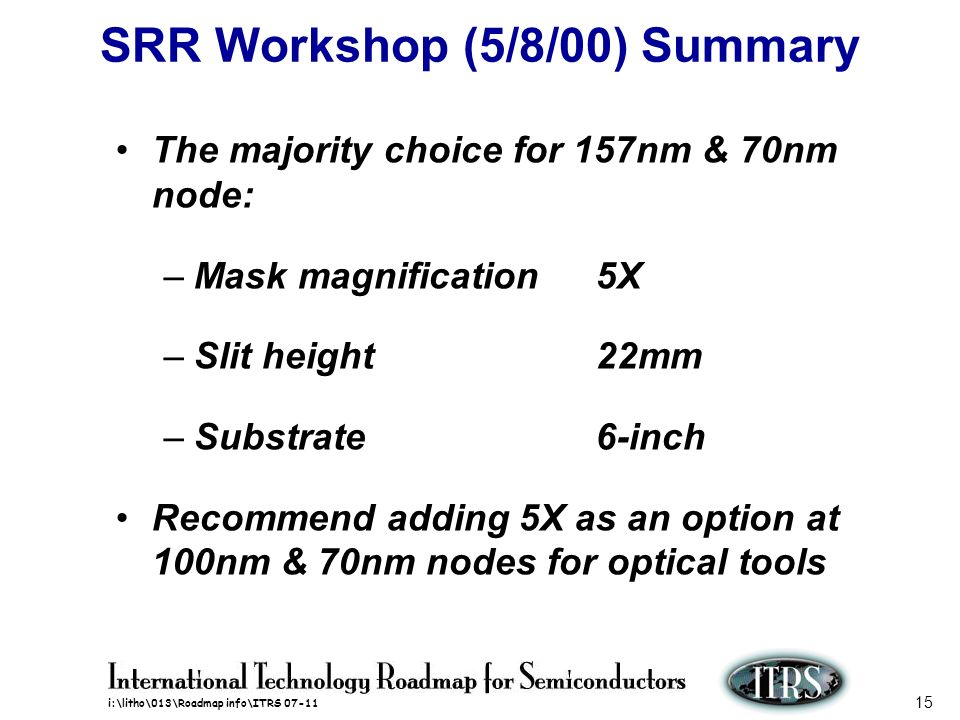 SRR Workshop (5/8/00) Summary