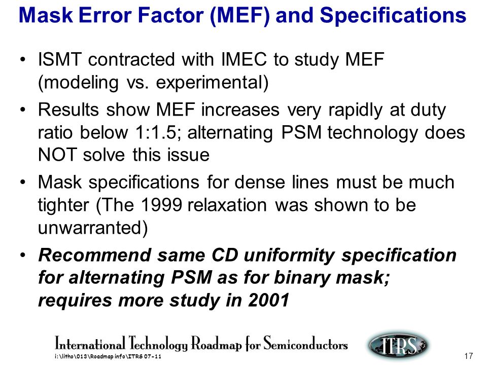 Mask Error Factor (MEF) and Specifications