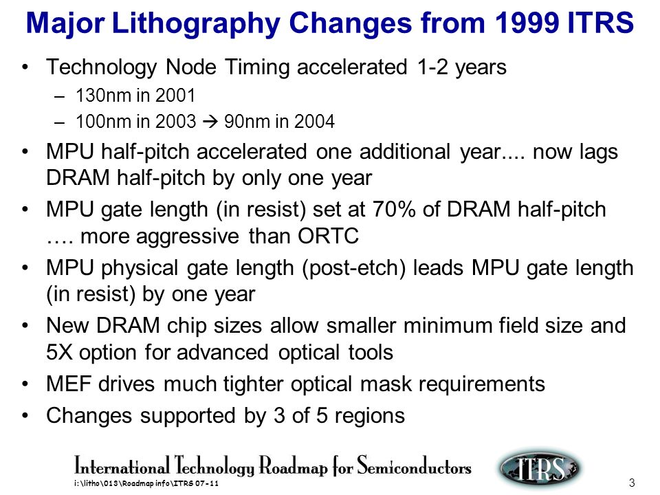 Major Lithography Changes from 1999 ITRS