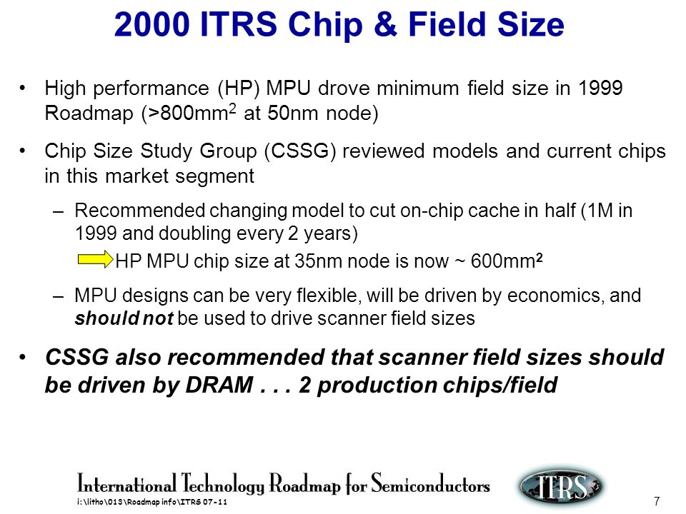 2000 ITRS Chip & Field Size High performance (HP) MPU drove minimum field size in 1999 Roadmap (>800mm2 at 50nm node)
