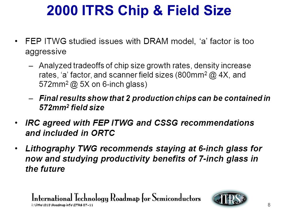 2000 ITRS Chip & Field Size FEP ITWG studied issues with DRAM model, 'a' factor is too aggressive.