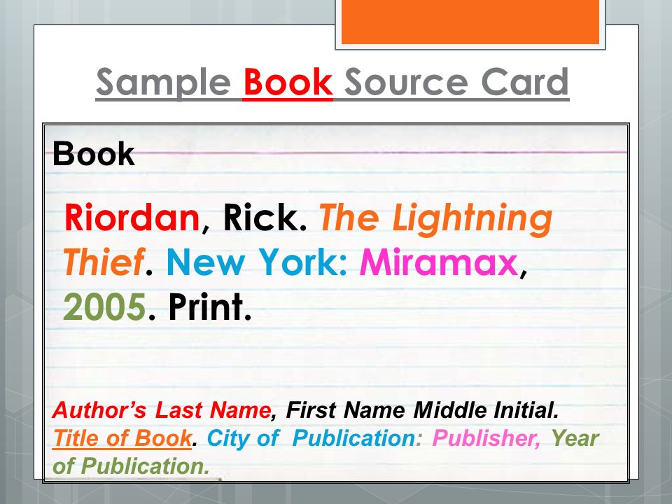 Sample Book Source Card