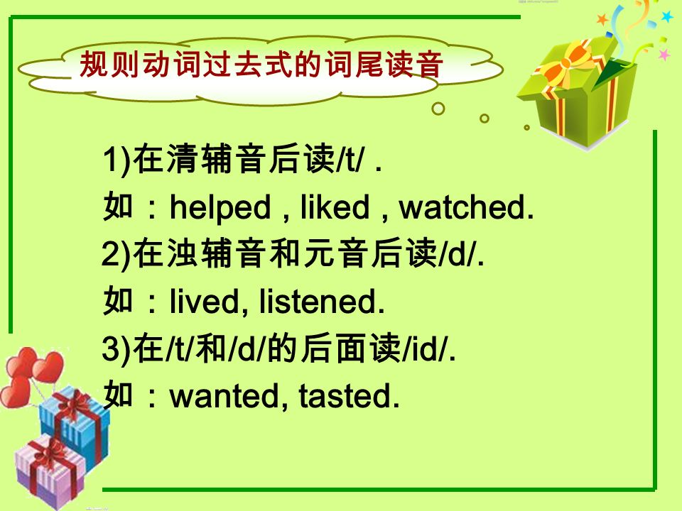 如:helped , liked , watched. 2)在浊辅音和元音后读/d/. 如:lived, listened.