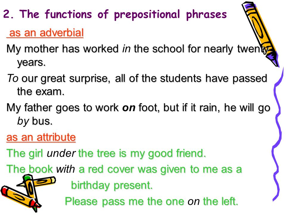 2. The functions of prepositional phrases