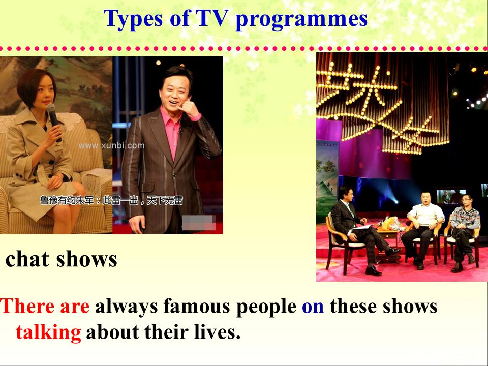 Types of TV programmes chat shows