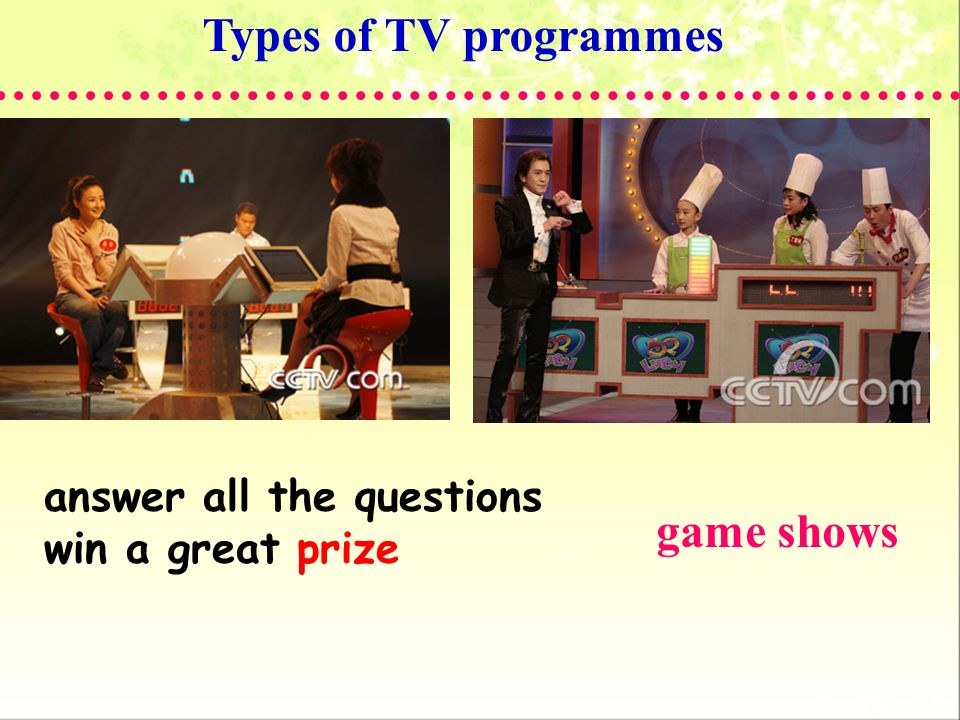 Types of TV programmes game shows answer all the questions