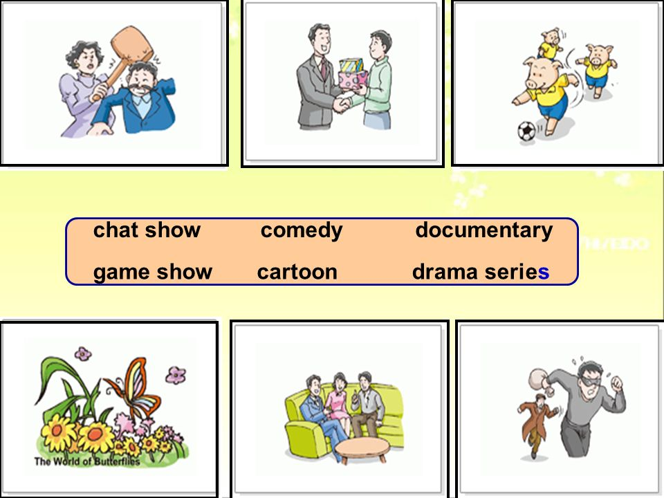 chat show comedy documentary game show cartoon drama series