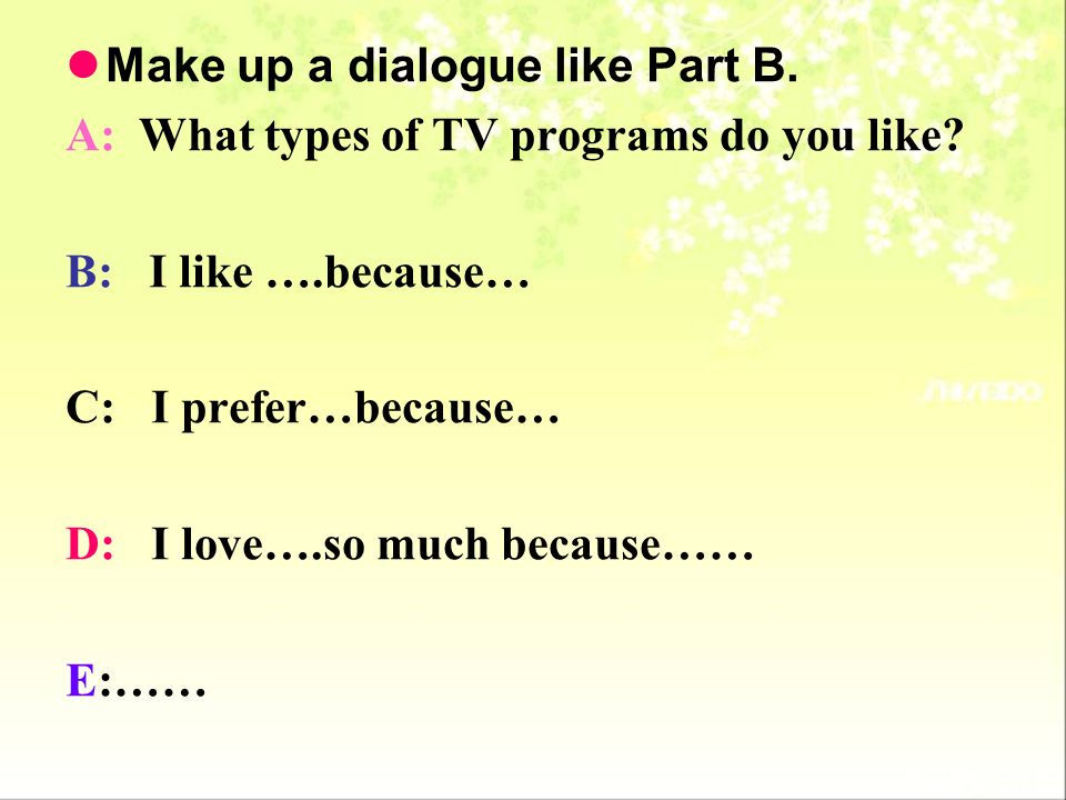 Make up a dialogue like Part B.