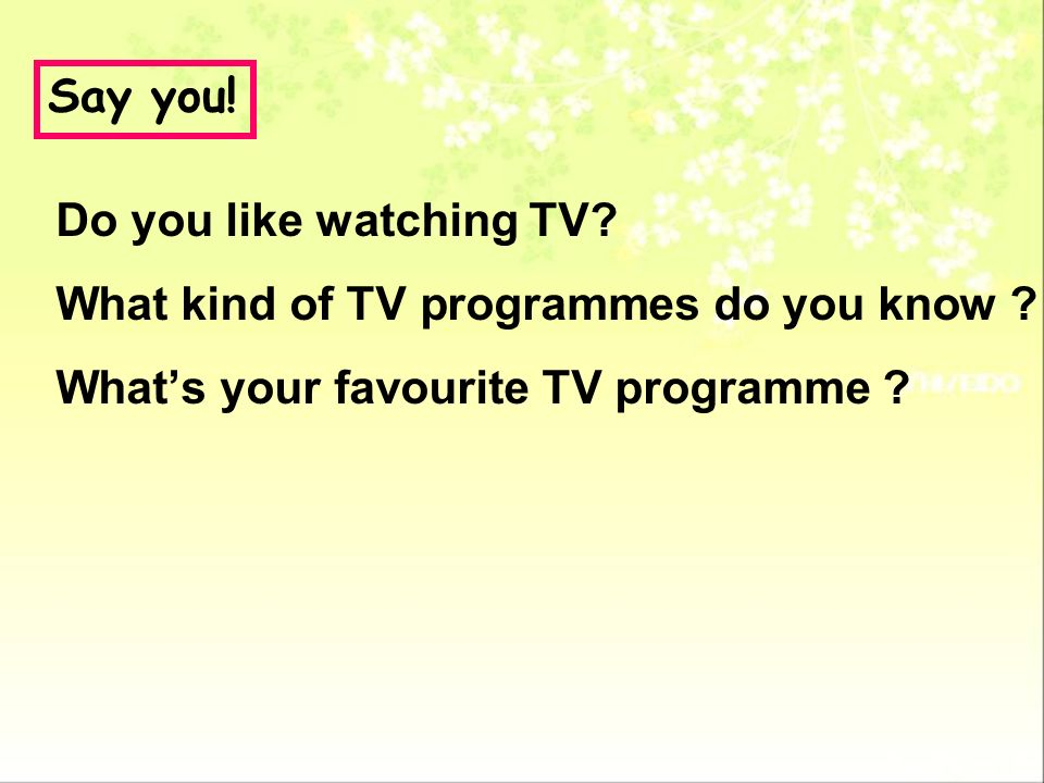 Say you. Do you like watching TV. What kind of TV programmes do you know .