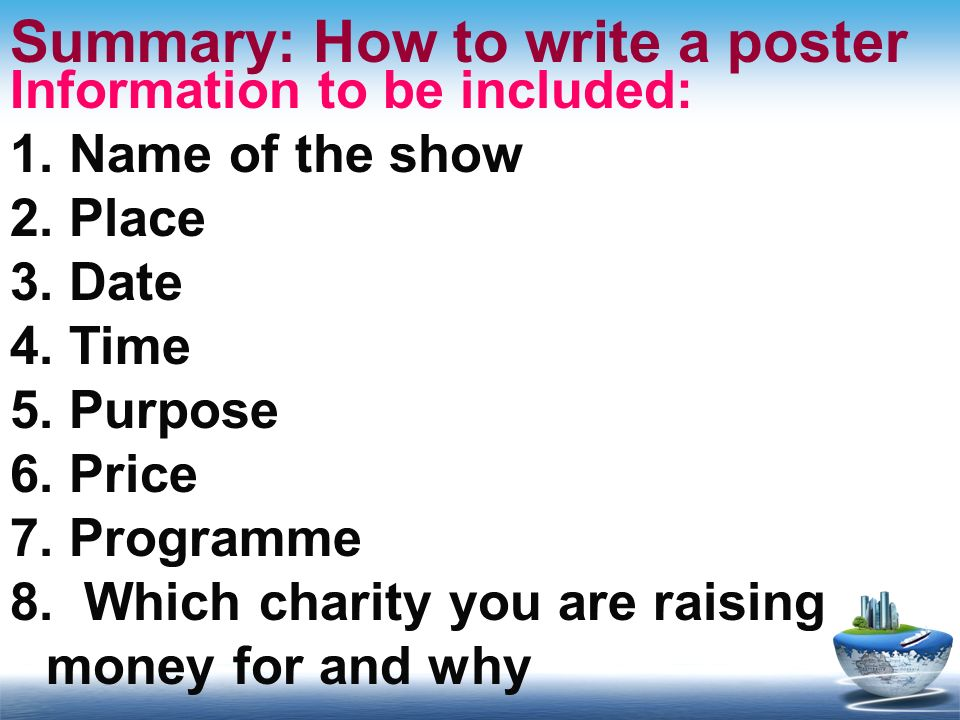 Summary: How to write a poster
