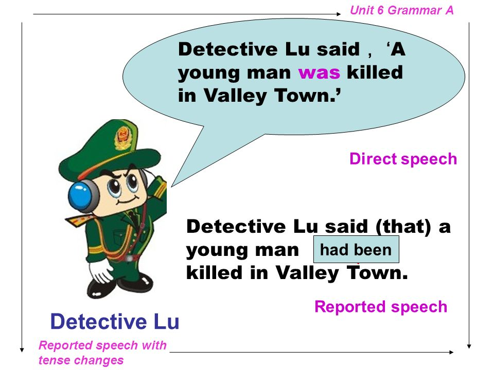 Detective Lu said, 'A young man was killed in Valley Town.'